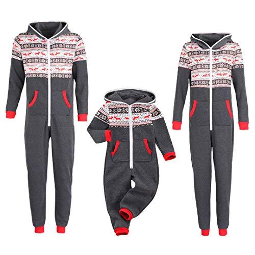 Onesie Jumpsuit Overall für Damen Herren Kinder Junge Mädchen Baby Kapuze Pyjamas Einteiler Familien Hirsche Druck One Piece Jumpsuit für Weihnachten (Grau, Kinder/3Jahre)