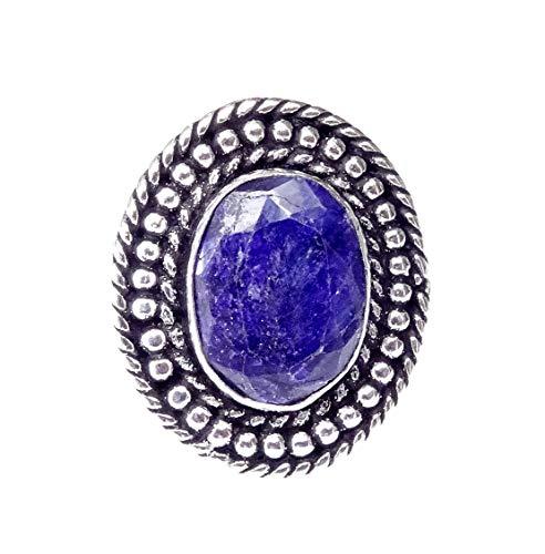 Anello in argento placcato a mano con pietra preziosa blu zaffiro designer unico Anello gotico ispirato moderno stile indiano tribale filigrana moda anello per gioielli donna