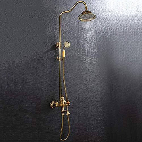 Dljyy Europese Gouden Jade Badkamer Douche Set 3 Functie Koper Goud Supercharged Hand Douche Systeem Roterend Kan worden Opgeheven Met Kraan Ronde Top Spray Mooie praktische