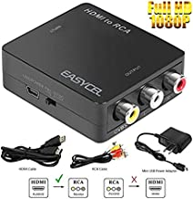 HDMI to RCA Converter, EASYCEL HDMI to Composite Converter, HDMI to AV CVBS Converter with Power Adapter/HDMI and RCA Cables