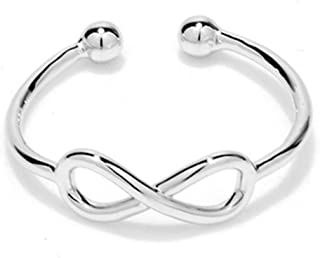 CHUYUN 925 Silver Rose Gold Color Infinity Ring Endless Love Symbol Fashion Rings for Women Men (Silver)