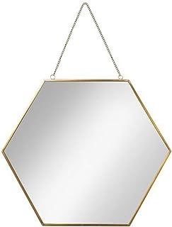 XZPENG Hexagon Mirror Nordic Golden Bathroom Mirror Dressing Mirror Wrought Iron Wall Hanging Decorative Mirror (Size : Diagonal length40cm)