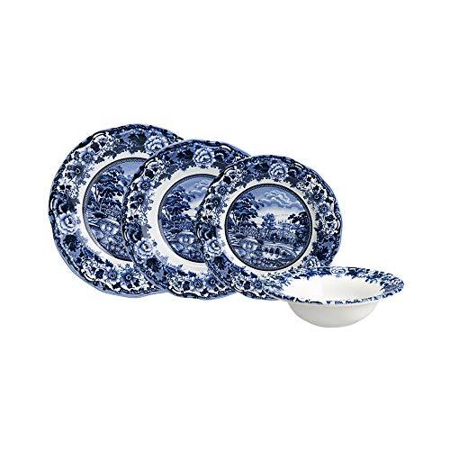 KARACA New Blue Odyssey 24-teiliges Kombiservice Tafelservice Geschirr-Set Für 6 Personen, 6 Servierplatten, 6 Suppenteller, 6 Dessertteller, 6 Salatschüssel, Steinzeug