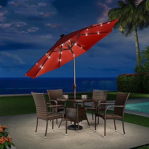 Bewinch Paraguas De Sombrillas De 3 M De Jardín con Luces LED con Energía Solar, Sombrilla con Protección contra UPF 50+, Inclinación, Manivela para Abrir El Cierre, Base Incluida