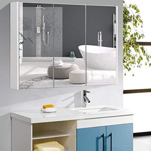 COSTWAY Mobile a Specchio per Bagno Armadietto Arredo con Specchio a Parete con 3 Ante, Bianco, 90,5 x 11 x 65 cm