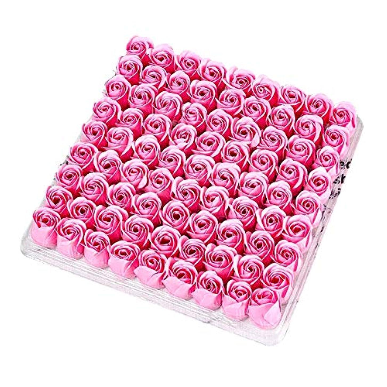 感謝している盆変数SODIAL 81個の薔薇、バス ボディ フラワー?フローラルの石けん 香りのよいローズフラワー エッセンシャルオイル フローラルのお客様への石鹸 ウェディング、パーティー、バレンタインデーの贈り物、ピンク