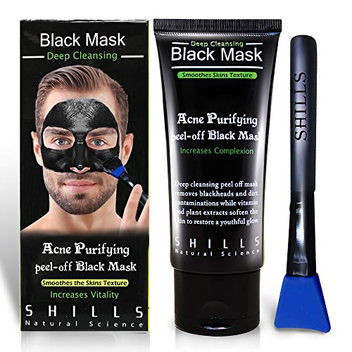 SHILLS Blackhead Remover, Pore Control, Skin Cleansing, Purifying Bamboo Charcoal, Peel Off Black Mask,1 Bottle(1.69 fl. oz)