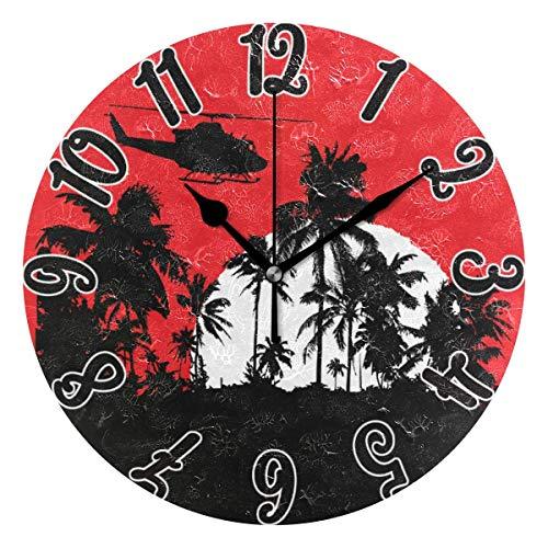 dfegyfr Reloj Reloj de Pared Redondo de Palma Tropical Reloj de Pared Decorativo silencioso sin tictac Reloj de Pared para Oficina en el hogar operado por batería