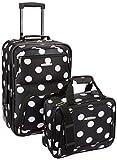 Rockland Fashion Softside Upright Luggage Set, Black Dot