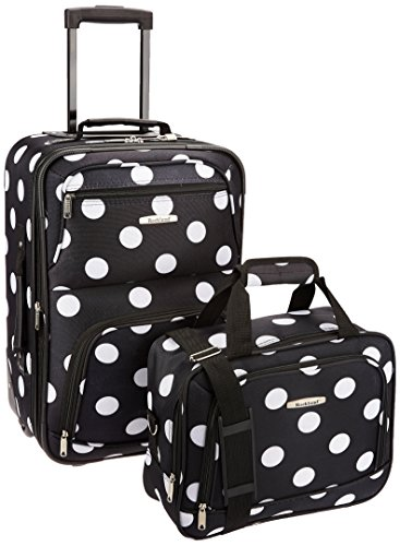 Rockland Fashion Softside Upright Luggage Set, Black Dot