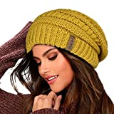 FURTALK Knit Beanie Hats for Women Men Double Layer Fleece Lined Slouchy Winter Skull Cap Hat (Yellow, One Size)