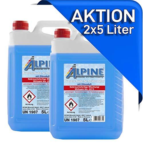 Scheibenklar 2X 5 Liter gebrauchsfertiges Frostschutzmittel für die Scheibenwaschanlage Scheibenfrostschutz fürs Auto. -20°C 10 Liter