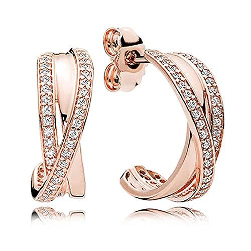 Ancla de plata de ley 925 y rueda, luna creciente y estrellas, pendientes de círculos de corazones con cuentas para mujer, regalo DIY, joyería de moda