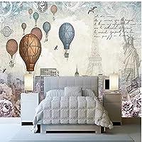 ーチ壁画壁画 壁飾 家の壁の装飾 レトロな熱気球タワーの建物 リビングルームの寝室のテレビの背景の壁の装飾 インストールが簡単 防水厨房装飾画壁画 リビングルームの壁画 120x100cm