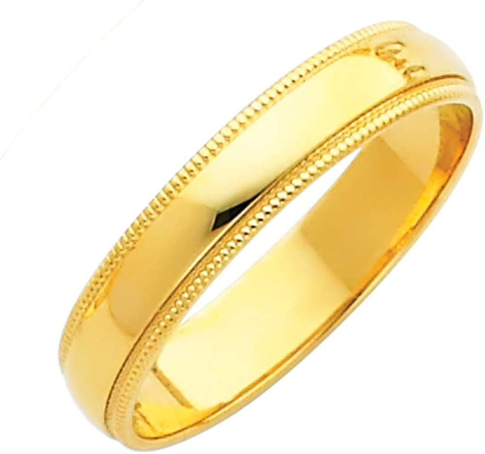 FB Jewels 14K White or Yellow Gold 4mm Solid Migraine Domed Traditional Comfort Fit Plain Wedding Ring Band