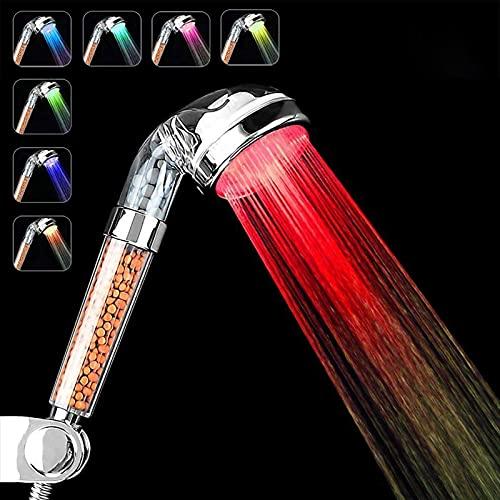 Alcachofa de ducha con led de 7 colores cambiantes, para cuarto de baño, spa – Alta presión, ahorro de agua – Alta filtración con tres niveles de iones negativos de prevención ✅
