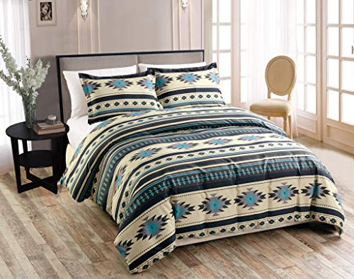 Chezmoi Collection 3-Piece Southwestern Geometric Tribal Multicolor Teal Beige Black Gray Duvet Cover Set - Zipper Closure and Corner Ties, Queen Size