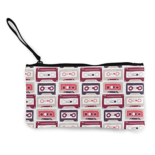 Architd Münzbörse Make-up-Tasche mit Reißverschluss, Handgelenk, Reise-Kosmetiktasche für Frauen Mädchen Vintage Pink Tape
