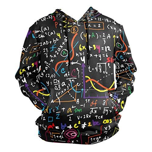 VAWA パーカー メンズ 長袖 おしゃれ 大きいサイズ プルオーバー トップス 薄手 柔らかい 春秋 ポケット付き カジュアル 面白い 数学柄 公式柄 幾何学