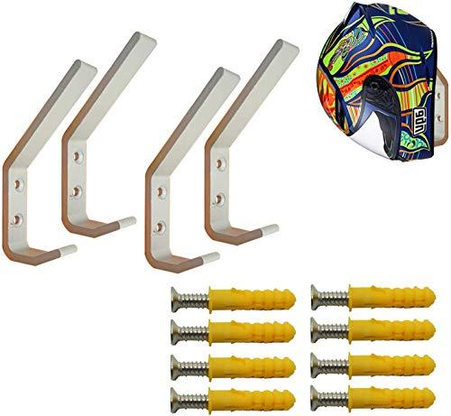 Deloky 4 Pack Motorcycle Helmet Holder Hook -Jacket Bags Wall Mount Cloth Display Rack Hook with Mounting Screws (4pcs Hook+ 8pcs Screws)