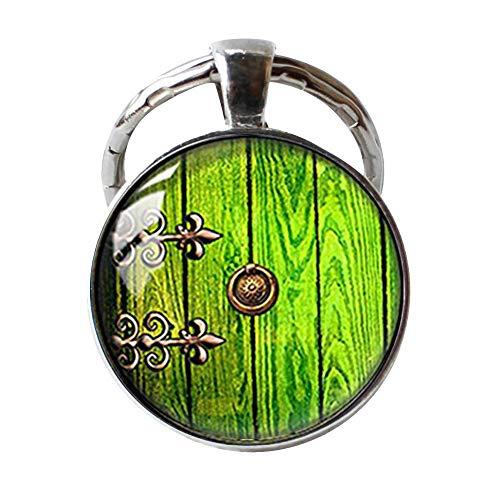 Handgefertigter Glaskuppel-Schlüsselanhänger, Hobbit-Tür-Schlüsselanhänger
