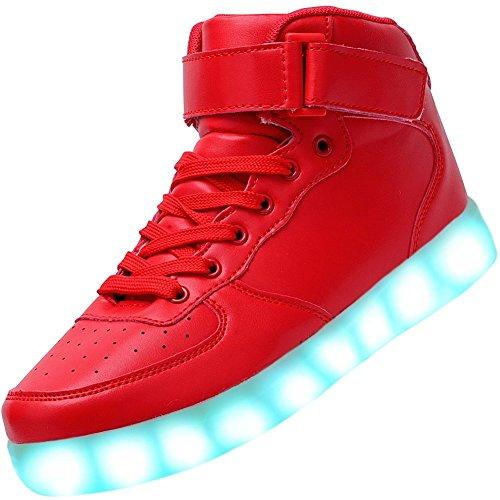PADGENE Chaussures de Sport Montantes à LED Clignotantes Rechargeables par USB (35 EU, Rouge)