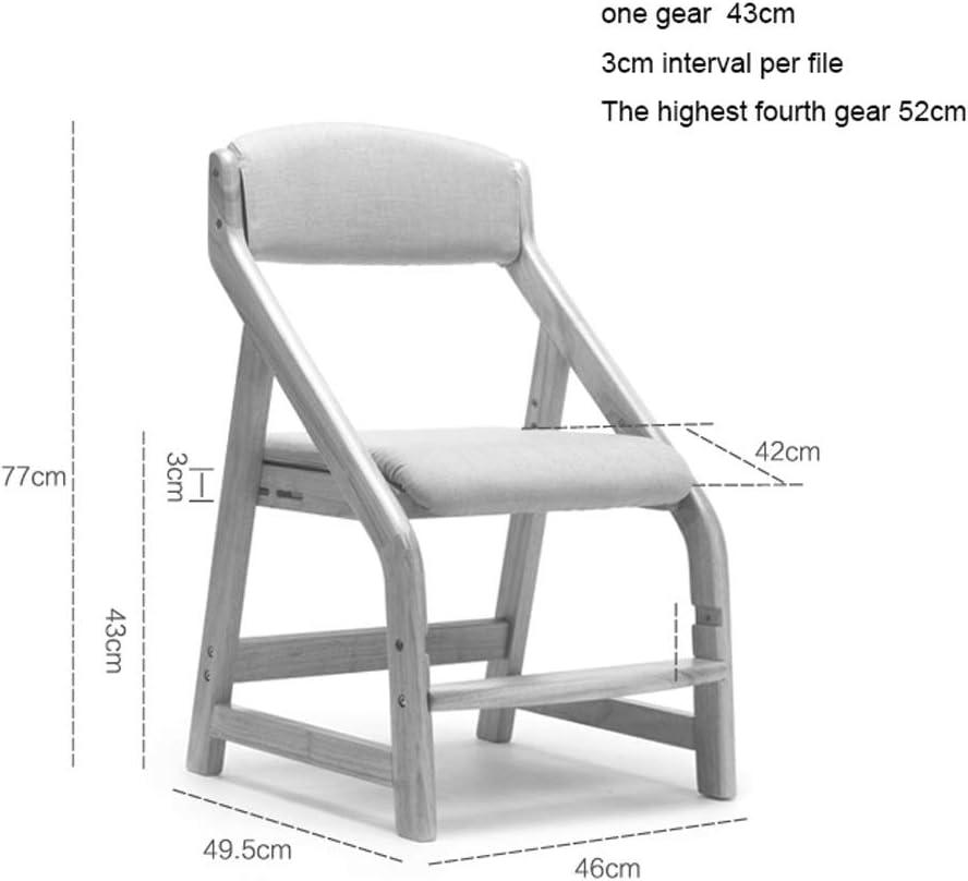 HXF- Chaise de salle à manger, d'étudiant, chaise d'étude, chaise d'étude, chaise d'étude en bois massif levable, chaise de bureau durable (couleur : marron) Kaki