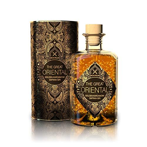 The Great Oriental Golden-Kardamom-Safran Gin 42% (1 x 0.5 l) - Feinster Gin mit 23 Karat reinem Blattgold und edler Geschenkverpackung - Intensiver Geschmack nach Safran und Kardamom