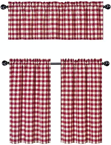3 Pc. Plaid Country Chic Cotton Blend Kitchen Curtain Tier & Valance Set - Assorted Colors (Wine/Burgundy)