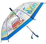 Paraguas Infantil/para niños, Transparente, con diámetro de 75 cm, Largo y automático con Dibujos de Animales, Coches, Motos, Trenes, cocodrilos, Ranas, Alpacas,Abejas, Pirata, pajaros. (Azul3)