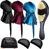 7 Pieces Velvet Durag Caps Wave Cap and 360 Wave Brush Kits, Includes 3 Long Tail Headwraps Wide Straps Waves 3 Wig Caps and Wave Brush for Men Women Waves