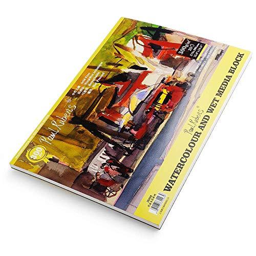 Almohadilla de papel para acuarela Paul Rubens, calidad de artista, sin ácido y 100% algodón, papel prensado en frío para acuarelas y bloques de medios húmedos, 7.6 x 10.6 pulgadas, 140 lb, 20 hojas