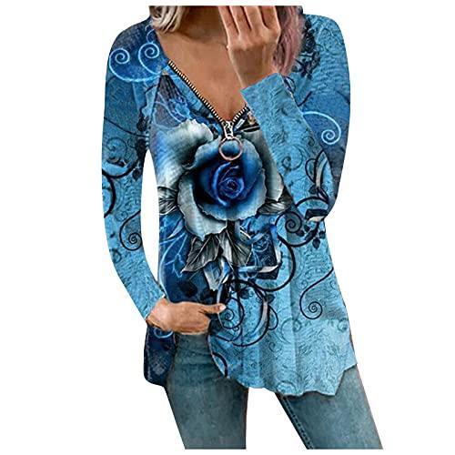 Blusa de manga larga para mujer, con estampado, cierre de cremallera, cuello en V, sexy, camiseta suelta, para otoño e invierno, A-azul claro., XL
