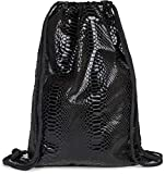 styleBREAKER Turnbeutel mit Oberfläche in Metallic Schlangenleder Optik, Rucksack, Sportbeutel, Beutel, Unisex 02012303, Farbe:Schwarz