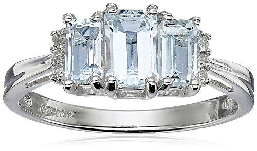 Hot Sale 10k White Gold Aquamarine Emerald 3-Stone Ring with Diamond-Accent, Size 9