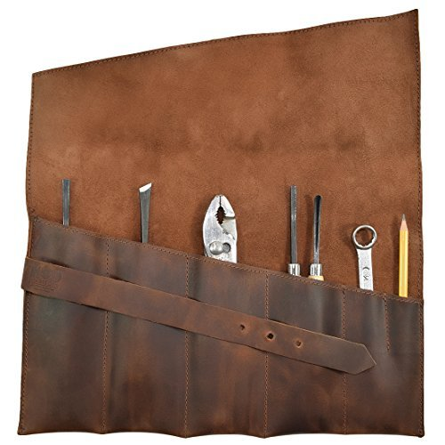 Hide & Drink, Rustic Leather Large Tool Roll Up Bag (6 slots), Portable Carry On Pouch Workshop Storage Woodworking Tools Organizer, Vintage, Handmade Includes 101 Year Warranty (Bourbon Brown)