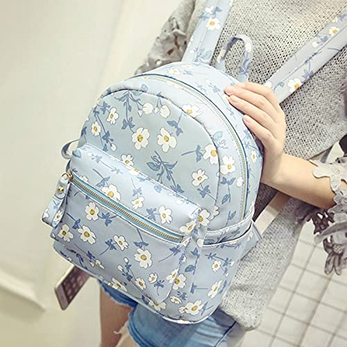 ZHAOMIAO Mochila con estampado de flores para mujer, bonita mochila escolar para niña, de cuero PU, bolsos pequeños de viaje, mochila de verano femenina 1