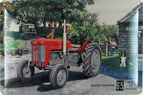 Blechschild 20x30cm gewölbt Trecker Massey Ferguson 65 Schlepper Traktor Deko Geschenk Schild