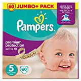 Pampers - Pannolini Active Fit, taglia 5, 60 pezzi, confezione Jumbo, canali d'aria per traspirazione e secchezza durante la notte (11-16 kg)