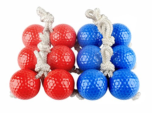 Sunfung Ladder Toss Ball Replacement Ladder Balls Bolos Bolas 6 Pack (3 Red + 3 Blue)