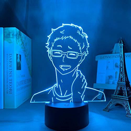 Luz nocturna 3D para niños y niñas Haikyuu Anime 3D lámpara Tsukishima Kei luz para niños dormitorio decoración LED luz nocturna regalo de cumpleaños manga Gadget lámpara de mesa 16 colores