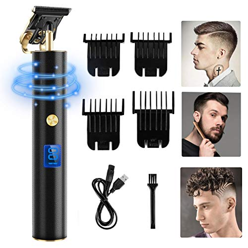 Hair Clippers for Men,Professional Cordless Hair Trimmer,Electric Hair Trimmer Pro Li,T-Blade Trimmer With LED Display Zero Gap Bald Head Beard Shaver Barbershop