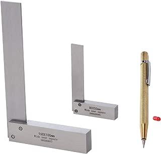 台付 完全スコヤ 2個 セット ( 16cm / 8cm ) ペン型 ケガキ針付 測定 大工 ケガキ 工具 墨付け