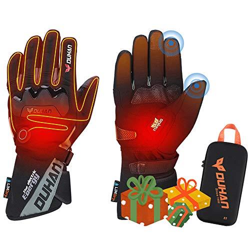 ISSYZONE Beheizbaren Handschuhe, Beheizt Winter Akku Handschuhe mit 2600MAH Wiederaufladbare Lithium-Ionen-Batterie für Motorradfahren, Winterski, Eislaufen (XL)