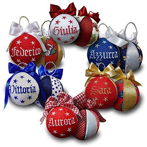 Crociedelizie, set da 4 palline di Natale personalizzate 8 cm nome ricamato decorazione natalizia personalizzabile scegli tu i modelli + scatole regalo in omaggio