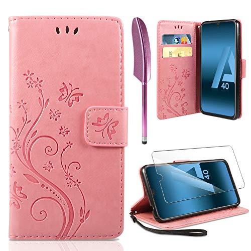 ivencase Lederhülle Samsung Galaxy A40 Flip Hülle+ HD Schutzfolie, Galaxy A40 Wallet Hülle Schmetterling Blumen Handyhülle PU Leder Tasche Hülle Kartensteckplätzen Schutzhülle für Samsung A40