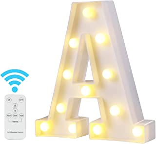 Youzone Newly Upgrade LED Marquee Letter Lights Light Up Letters Alphabet Light Up Sign with Remote Control Timer Dimmable (A)