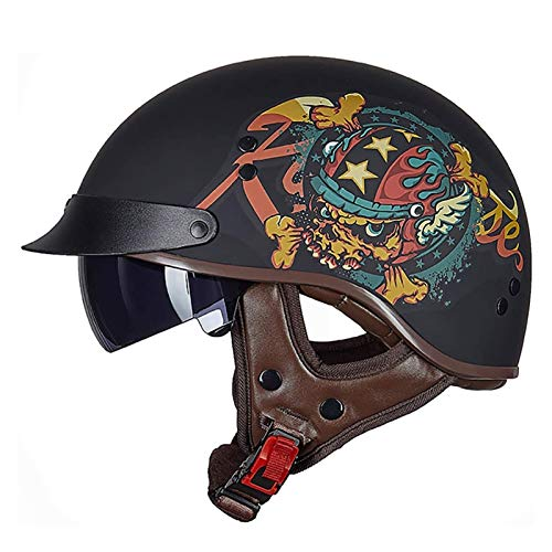 Casco Moto Abierto, Medio Casco De Motocicleta Retro,ECE Homologado Retro Half Moto Cascos Helmet De La Bici del Casco del Viaje del Estilo Alemán Crucero Bicicleta Casco Moto Jet