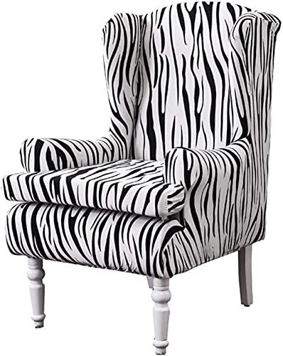 Sesselüberzüge, 2 Stück Stretch Zebra Streifen Wingback Stuhl Schonbezüge Elastisch Polyester Spandex Stoff Stretch Sofa Sessel Schonbezüge Waschbarer Möbelschutz (Schwarz Weiß)