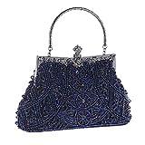 Bolsos Mujer Bolso De Noche con Cuentas para Mujer Diseño De Moda Bolso De Noche para Mujer con Perlas Embrague Banquete De Boda Bolso De Hombro para Mujer Nupcial Bolso Azul